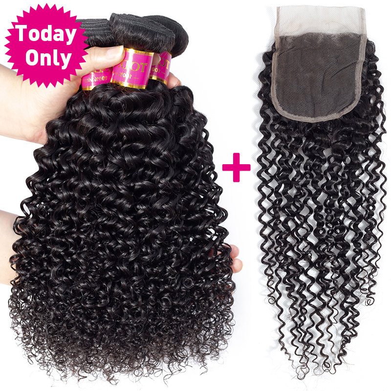TODAY ONLY Brazilian Kinky Curly Bundles Curly Human Hair Bundles With Closure Mink Brazilian Hair Weave