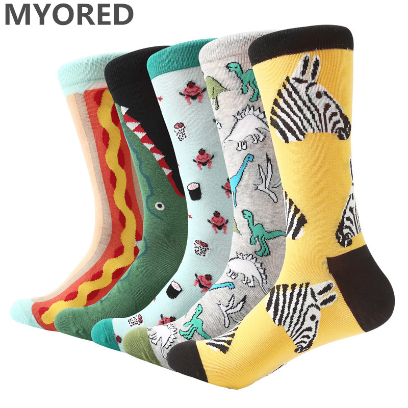 MYORED 5 pair/lot happy for funny male   socks   bright colored mens long   socks   combed cotton cartoon animal   socks   for men's dress