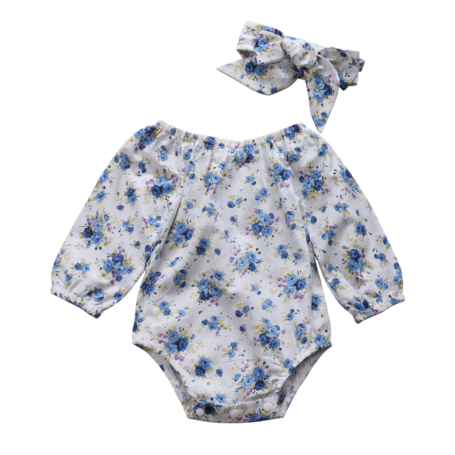 Mother & Kids Girls' Baby Clothing 2pcs New Baby Girl Bodysuits Long Sleeved Clothes Newborn Baby Girl Blue Floral Bodysuit Jumpsuit Kids Outfits One Piece Clothes