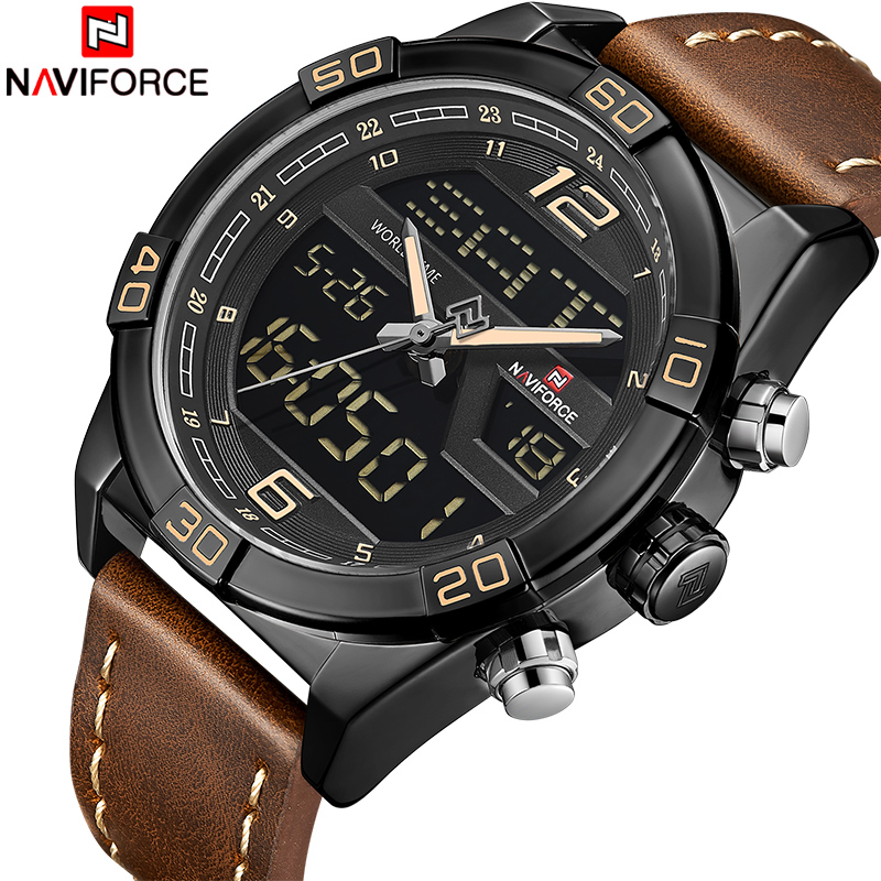 Men Watch NAVIFORCE New Luxury Fashion Quartz Wrist Watches Mens Leather Waterproof Date Week Analog Clock Relogio Masculino naviforce men silicone band wristwatches waterproof quartz analog display date day week wrist watch fashion casual watches 9107