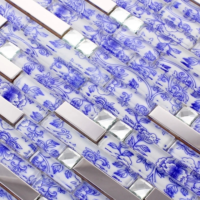 Streifen Edelstahl Gemischt Blaue Blume Glasmosaik Fliesen Für Küche  Backsplash Fliesen Badezimmer Dusche Fliesen Schlafzimmer Grenze