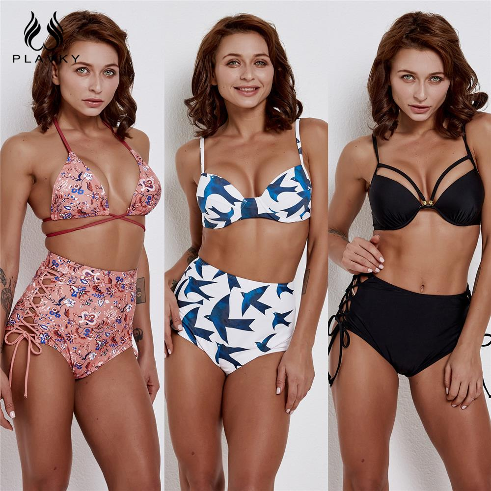 Sexy Retro Push Up High Waist Bikini 2019 Plus Size Swimwear Women Swimsuit Female Tropical Floral Flattering Bathing Suit XXL
