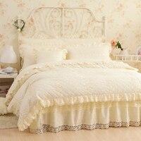 Хлопок кружево принцесса стиля роскошные постельные принадлежности мягкие теплые зимние постельное белье 4/7 шт. полный queen двуспальная кро