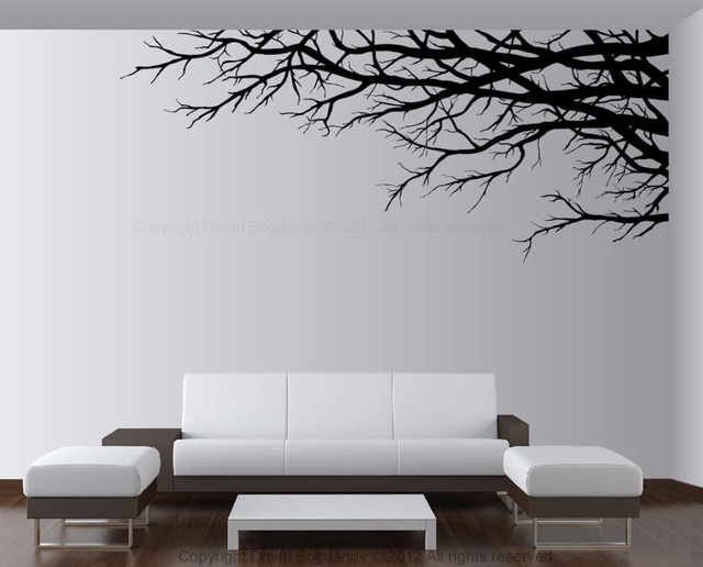 Tree Vinyl Wall Decal Top Branch Mural Sticker Plant Design Bedroom Living Room
