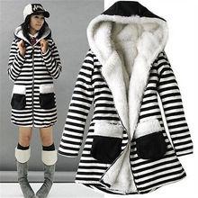 New Korean Fashion Women Zebra Striped Print Thicken Winter Fur Hooded Warm Coat Lady Jacket Outwear