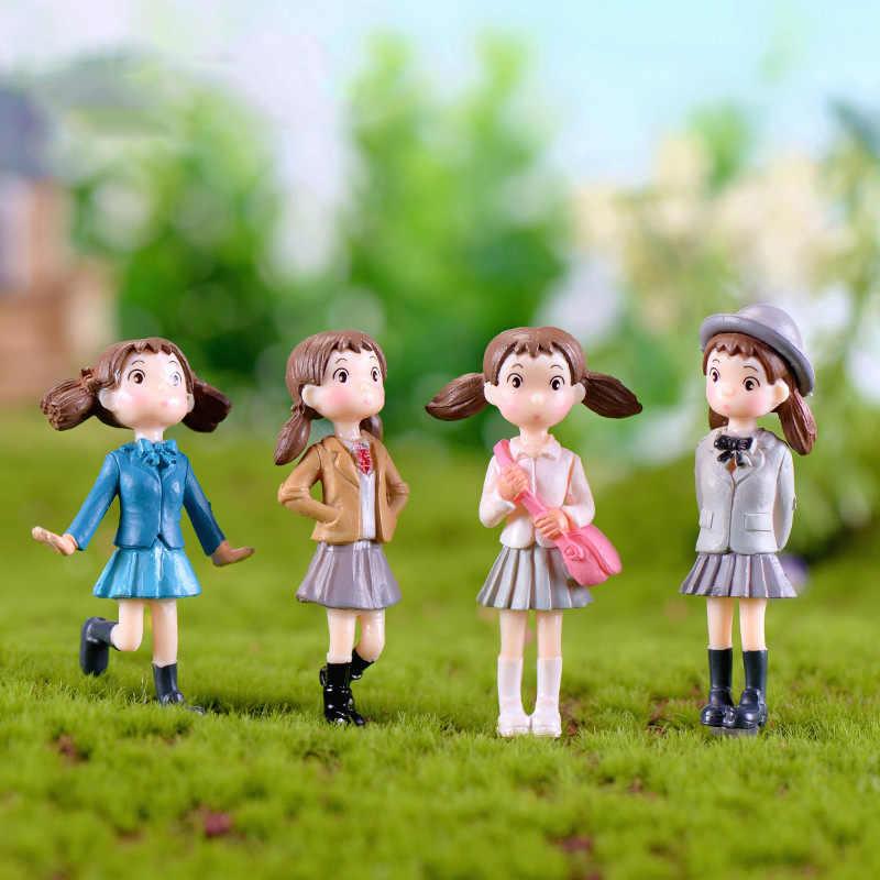 Menina Escola Em Miniatura Estatueta toy anime Vizinho Totoro Mei mini decoração do jardim dos desenhos animados pessoas estátua ornamento bolo
