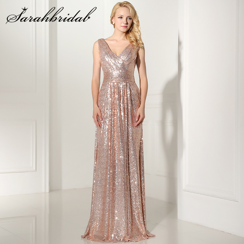 Rose Gold Sequined Long Evening Dresses Sexy V neck Backless Formal Party Prom Gowns Vestido De
