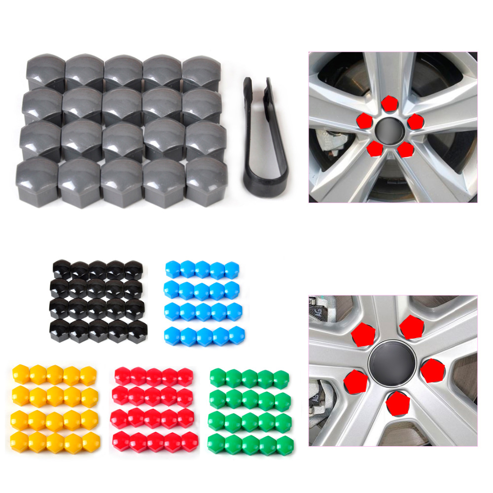 Sourcingmap 20pcs 17mm Rubber Car Wheel Tire Tyre Nut Screw Cover Caps Hub Protector Pink