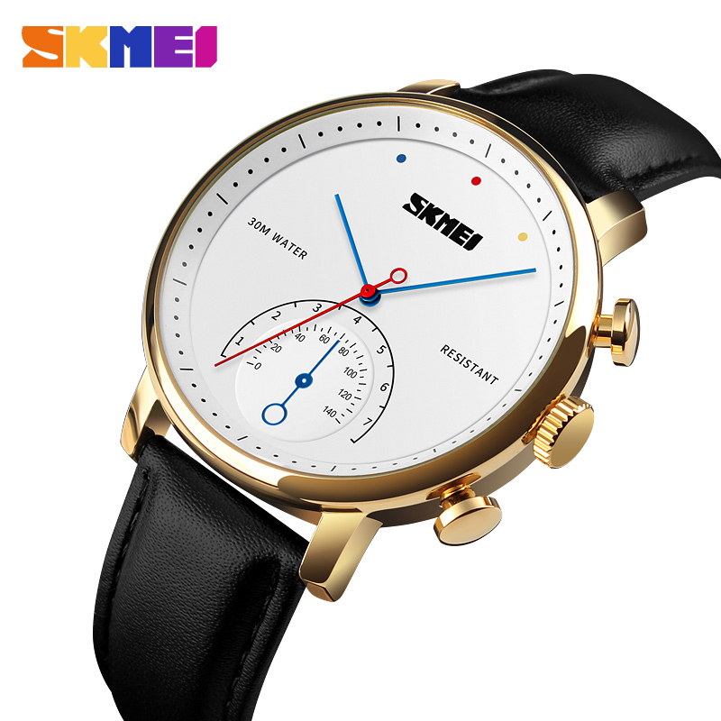 <font><b>SKMEI</b></font> Luxury Casual Quartz Men Watch Leather Strap Watches Alloy Case Waterproof Wristwatch Fashion Clock Male Relogio Masculino image