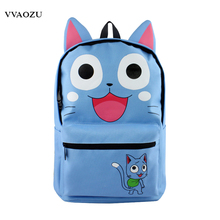 Fairy Tail Anime Cosplay Backpack Unisex Happy Cat Style School Rucksack Bolsa Mochila