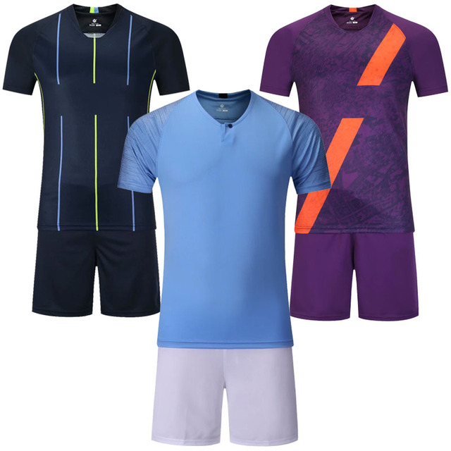 new arrival 8b73c e6a27 US $14.6 20% OFF|Men's blank short sleeve soccer jerseys men football  jersey and shorts adult plain soccer sets customize any logos sports  kits-in ...