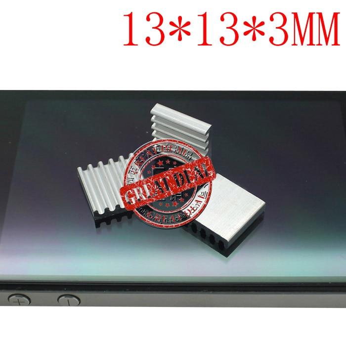 Free Shipping Wholesale 100PCS Small Aluminum Heatsink 13*13*3MM High Quality Radiator Block Silver Color IC Heatsink