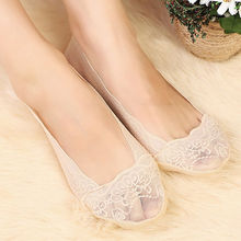 Summer Women Girls Cotton Lace Antiskid Invisible Liner No Show Low Cut Socks Boat Slippers Anti