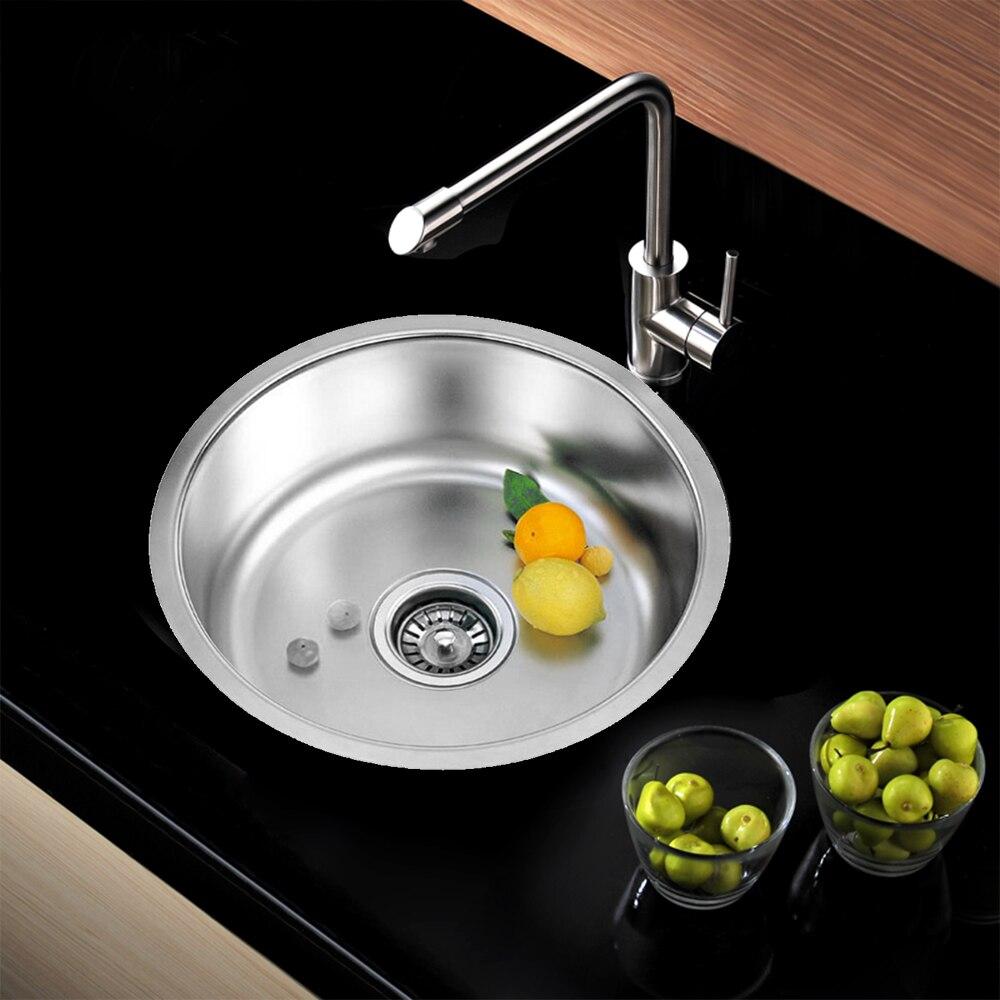 Évier de cuisine simple en acier inoxydable évier de cuisine simple fente plat bassin 41x41cmx20cm avec panier de vidange et tuyau de vidange - 2