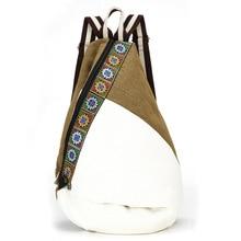 Embroidery Ethnic Canvas Backpack Women Handmade Flower Embroidered Bag Travel Bags Schoolbag Backpacks Mochila Beach Backbags