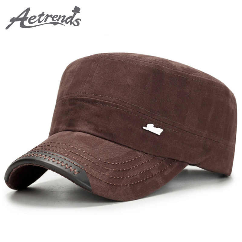 [AETRENDS] Fashion Military Hats for Men Women Flat Top Caps Cotton Tactical Military Cap Z-6115