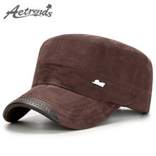 [AETRENDS] 2017 New Fashion Military Hats for Men Women Flat Top Caps Cotton Tactical Military Cap Z-6115()