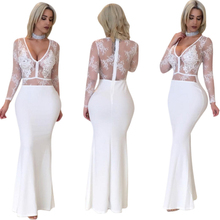 Dentelle Broderie à manches longues Robe Femmes Solides Couleur Robe Femme Style Européen Sexy V Cou Perspective Gaine Robes Longues