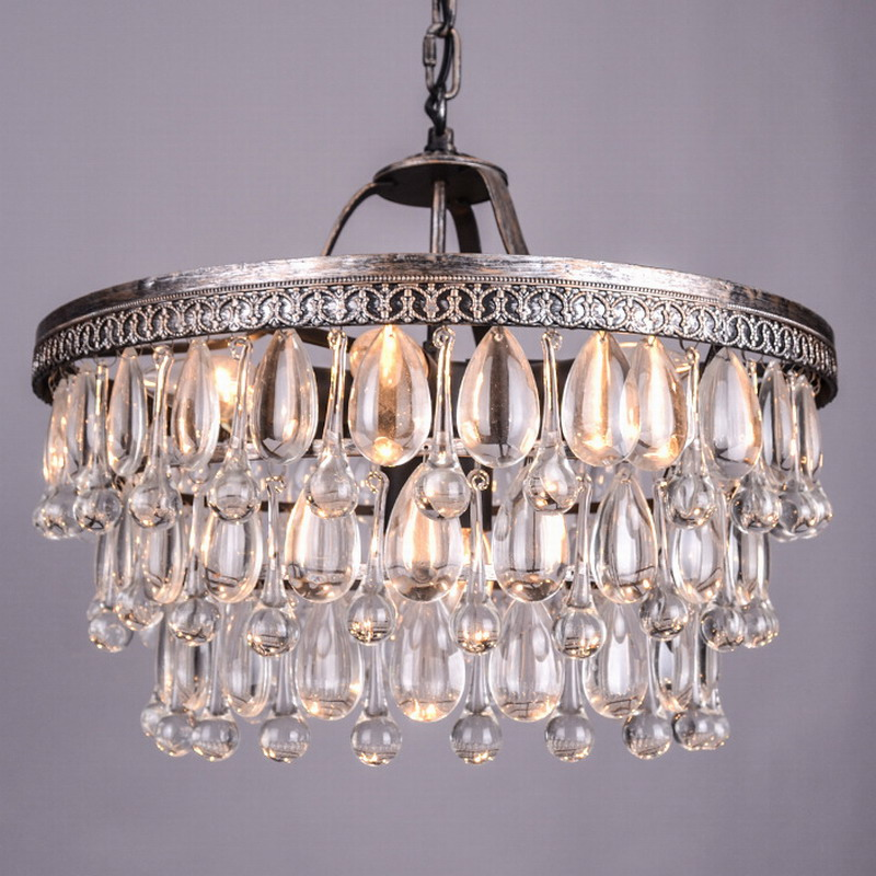 Vintage Big Glass Drops Led Crystal Iron Lustres Chandeliers ...