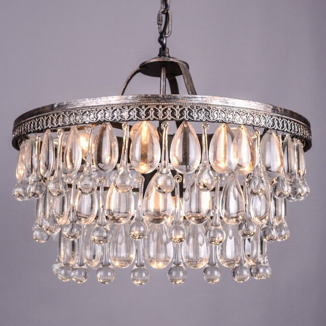 Vintage Style Glass Drops Chandelier