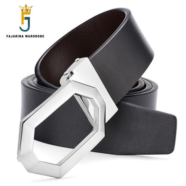 a94f8bb9ab8a6 FAJARINA Quality Hexagon Pattern Smooth Geometric Buckle Black Belts  Cowhide Genuine Leather Leather Mens Belt for Jeans LUFJ532