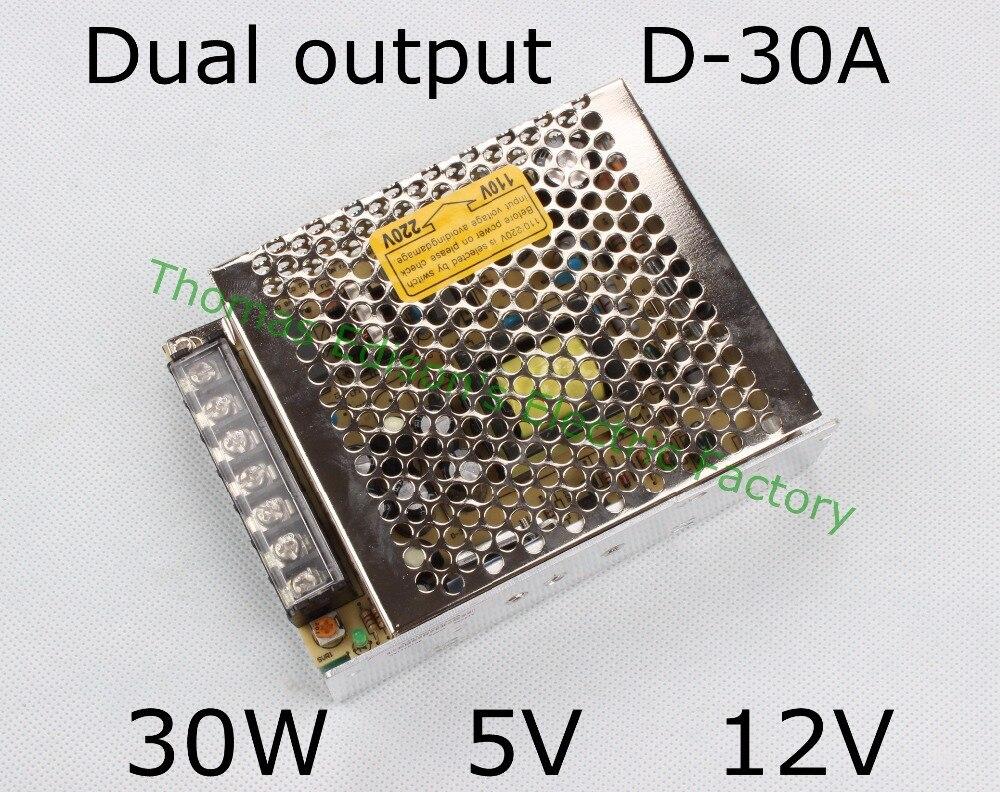 dual output power supply 30w 5v 12v power suply D-30A  ac dc converter good qualitydual output power supply 30w 5v 12v power suply D-30A  ac dc converter good quality