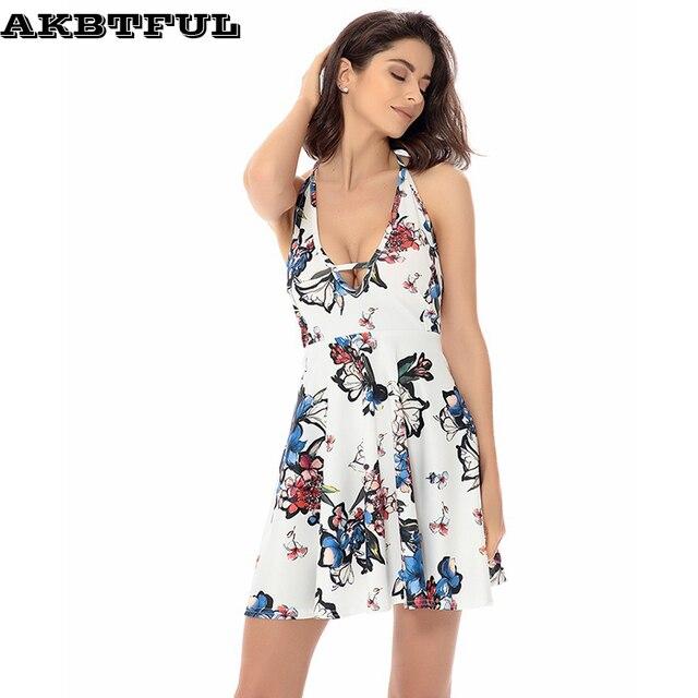 966c9d45328c9 Women Summer Clothing Tops Bohemia Mini Dress Ladies Sleeveless Backless  Strap Deep V Neck Party Clothes Women Beach dresses