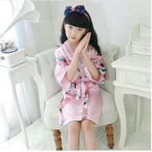 Kids Robe Satin Children summer Kimono Bath Robes Bridesmaid Flower Girl Dress Silk children s bathrobe