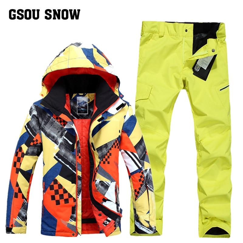 Gsou snowWinter 2017 Новый мужской лыжный костюм супер теплая одежда лыжный сноуборд куртка + брюки костюм ветрозащитный водонепроницаемый ветрозащ...