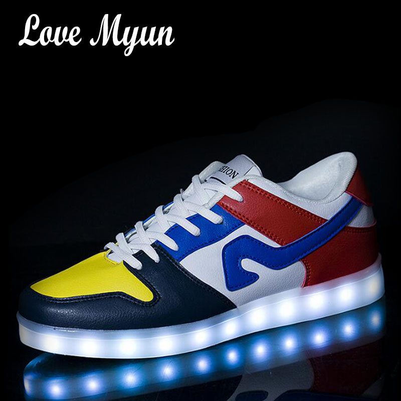 New Men LED Casual Shoes Boy Luminous Sneakers with USB Charging colorful Breathable male Lighted Shoes  II-34