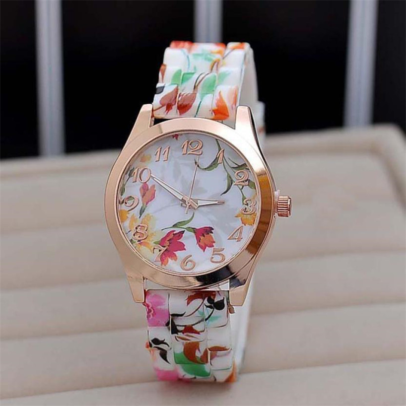 Women Watches Women Girl Watch Silicone Printed Flower Causal Quartz WristWatches Fashion Gifts Casual Business Watch P5