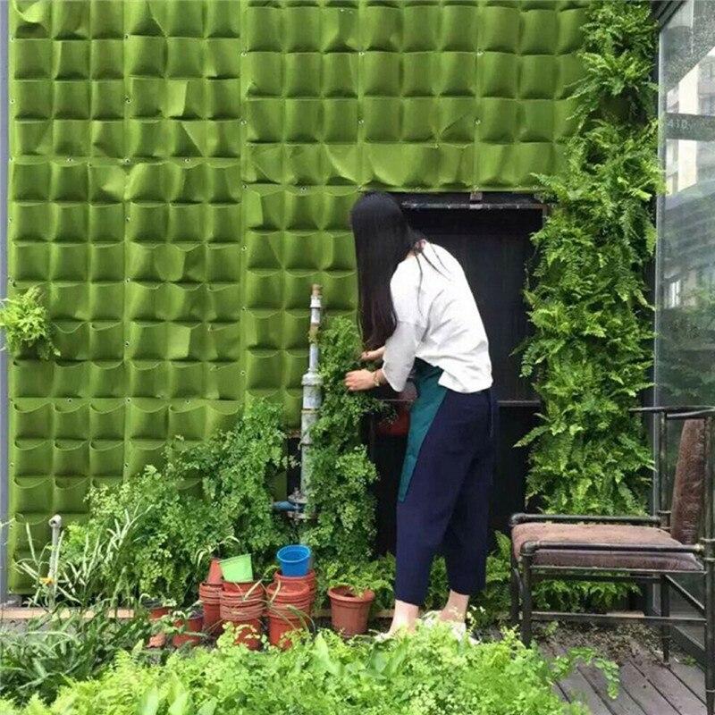 Garden Pots & Planters Garden Grow Bag 18 Pockets Vertical Planter Wall-mounted Pe Gardening Flower Hanging Felt Planting Bag Indoor Garden Growing Pot Home & Garden