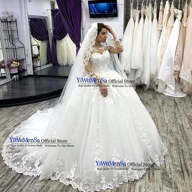 Nude Tulle Long Sleeves White Wedding Dress Robe De Mariee 2019 Plus Size Appliques Lace Bridal Gowns Vestido De Novias Dresses