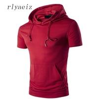 RLYAEIZ T Shirt Men Pockets Hip Hop 2017 New Casual Mens Tshirt Summer Fashion Hooded T