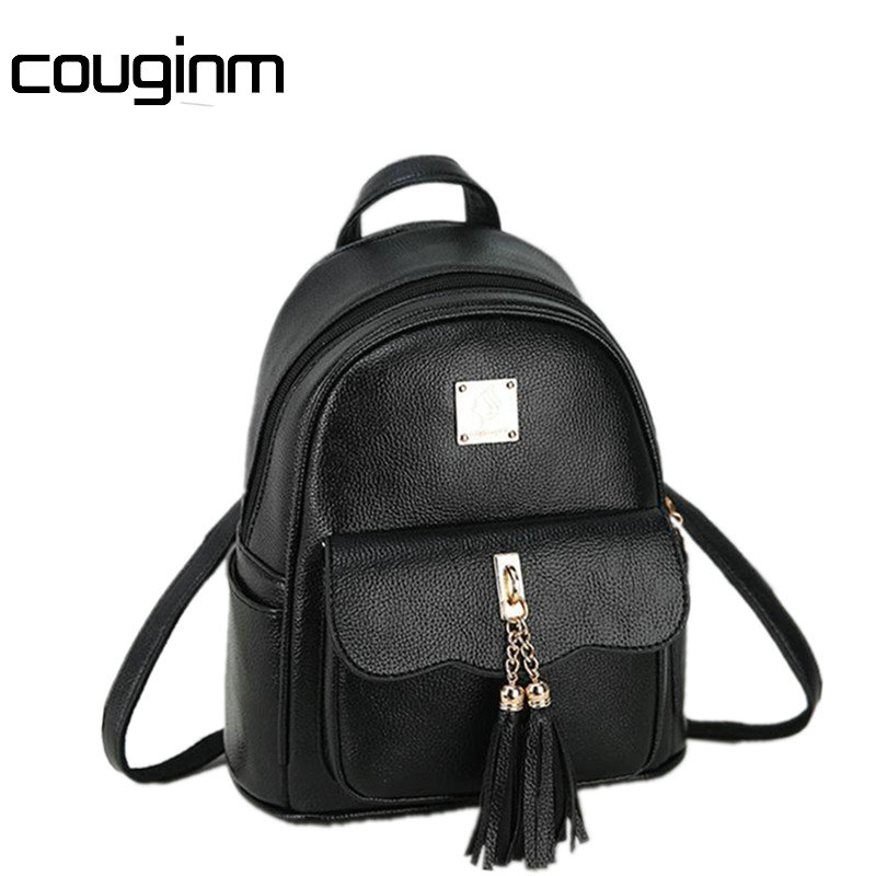 COUGINM Sweet College Style Mini Shoulder Bag High Quality PU Leather Fashion Girl Candy Color Small Backpack Female Bag new fashion women backpack korea high quality pu leather candy color college shoulder bag sweet girl traveling mini female bag