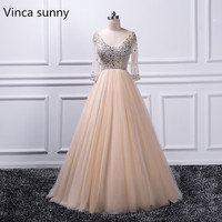 Ball Gown Evening Dress 2017 Robe De Soiree Longue Formal Dress Vestido Longo Beaded Crystal Half