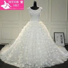 Gorgeous Shiny Beadwork Nhỏ Thủ Công Hoa Luxury 5 Mét Dài Train Cathedral Vestido De Noiva Wedding Dress MTOB1720