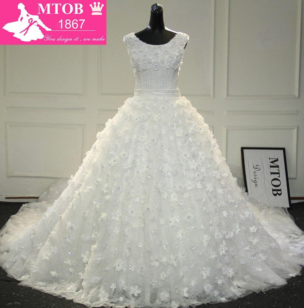 Hermosa brillante abalorios pequeño hecho a mano De flores De lujo De 5 metros De largo Catedral tren Vestido De novia Vestido De boda MTOB1720