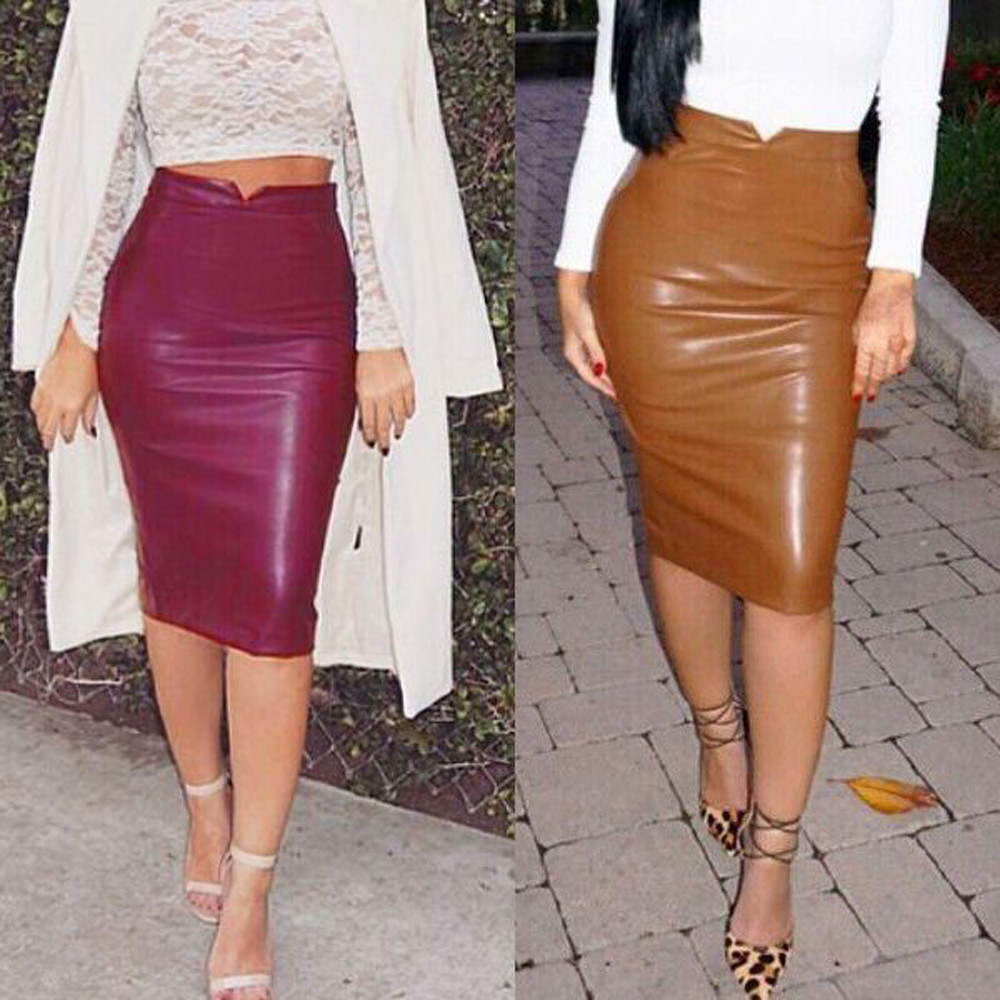 11e99ac39bfe8 Hot Sale Women Soft PU Leather Skirt High Waist Slim Hip Pencil Skirts