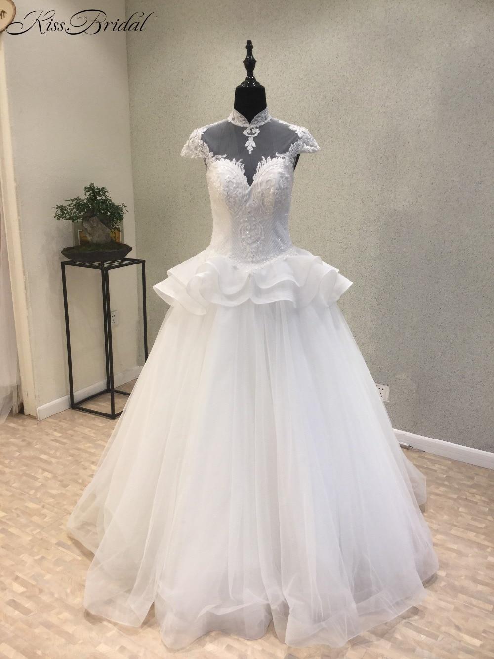 Vestido de casamento New Elegant Wedding Dresses 2020 High Neck Short Sleeves Ball Gown Bride Dresses Lace Up Back mariage