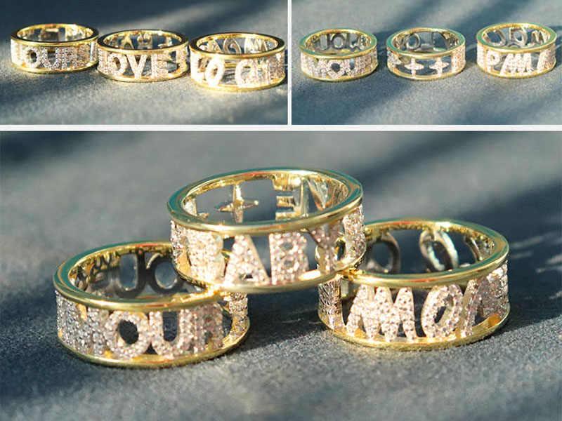 SLJELY бренд стерлингового серебра 925 пробы желтого золота Цвет начальные буквы AMOUR TOUJOURS перстень с цирконом камни для женщин Monaco ювелирные изделия