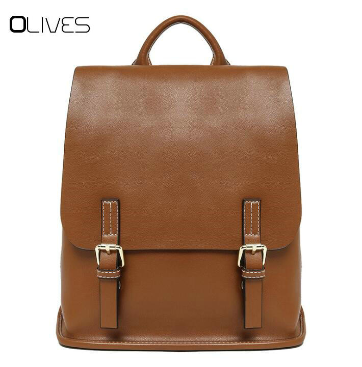 New Fashion Women Backpack High Quality Cowhide Leather Backpacks for Teenage Girls Female School Shoulder Bag Bagpack mochila cardamom fashion leather backpack women bags cowhide leather bagpack with colorful patchwork backpacks for women