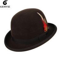 GEMVIE Brown Derby Bowler Hat For Men Women Fedoras With Removable Feather 100% Wool Theater Felt Hat Roll Brim Party Hat