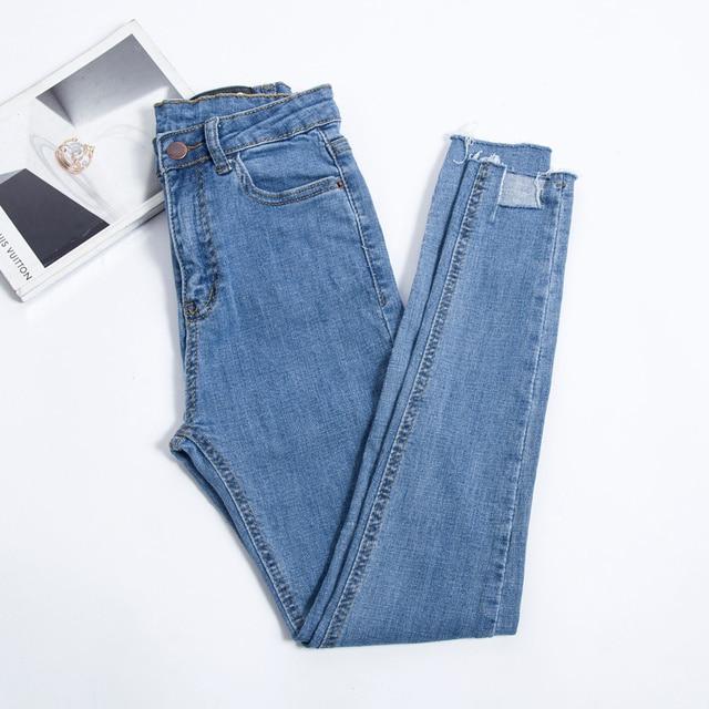 JUJULAND 2019 New Slim Stretch High Waist Skinny Jeans Female Scratch Worn Feet Vintage Pencil Pants Women Jeans Plus Size 8138