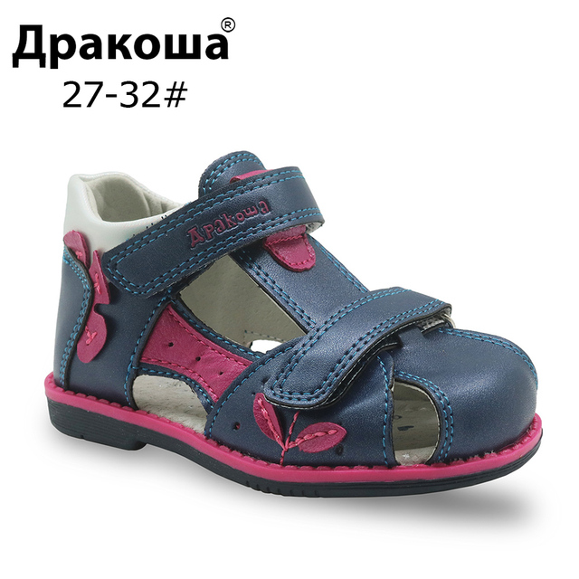 e57cd6b125 US $13.02 40% OFF Apakowa Brand Summer Girls Sandals Orthopedic Toddler  Kids Shoes Pu Leather Flat Baby Girls Shoes with Arch Support Eur 20 25-in  ...