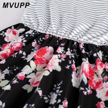 MVUPP Mommy and me family matching mother daughter dresses clothes striped mom daughter dress kids parent child outfits look 4