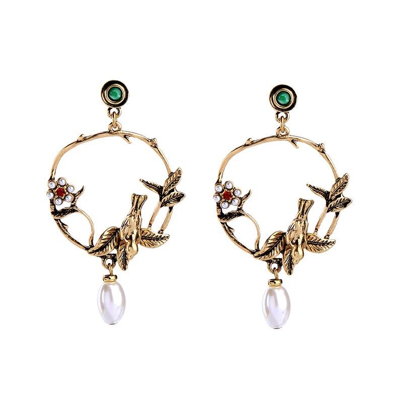 2017 Punk Jewelry Round Circle Hollow Drop Earrings Women Bijoux Antique Gold Color Birds Flower Earrings Dangler