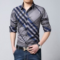 Plus Size 2016 New Spring Brand Mens Blue White Red Plaid Shirts Long Sleeve Casual Checked