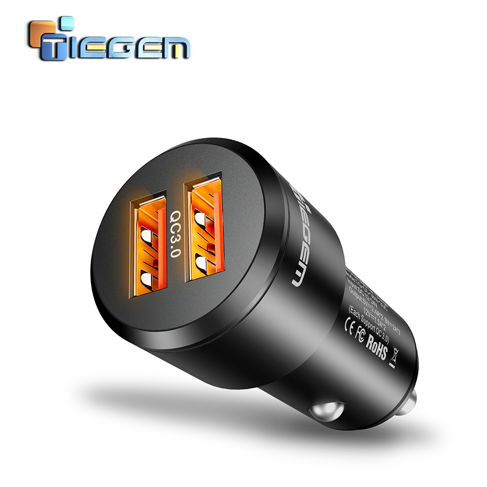 TIEGEM 36W Quick Charge 3.0 Dual USB Car Charger Universal Travel Mobile Phone Charger Adapter for iPhone Sony Samsung Xiaomi