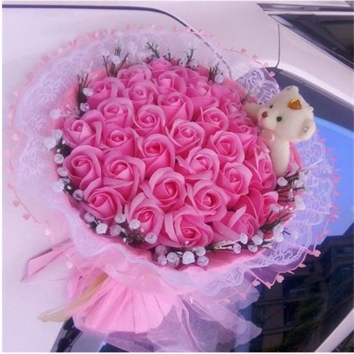 Handmade teddy bear plush toys with fake roses fashion cartoon ...